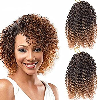 9 Bundles/Lot Eunice Marlybob Ombre Brown 8 Inch Crochet Braids Synthetic Kinky Curly Braiding Hair Extensions  Ombre 27