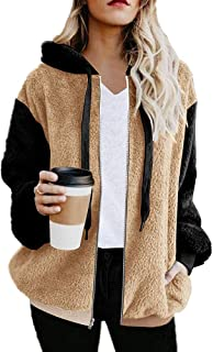 Ivay Womens Faux Fur Winter Coats Shearling Color Block Cardigan Zip Casual Jacket Hoodies with Pockets
