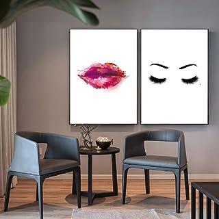 Moda Red Lip Sombras de ojos Maquillaje Arte de la pared Pintura en lienzo Carteles e impresiones de pared Cuadros para la sala de estar Decoración D 60 * 100 cm * 2 unids