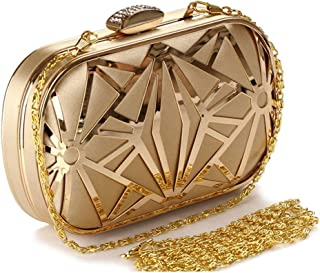 New Fashion Hollow Iron mesh Banquet Bag Ladies Europe and America Evening Dress Clutch Bag Chain Shoulder Messenger Bag Black/Gold Size: 16 * 4 * 10CM Fashion (Color : Gold)