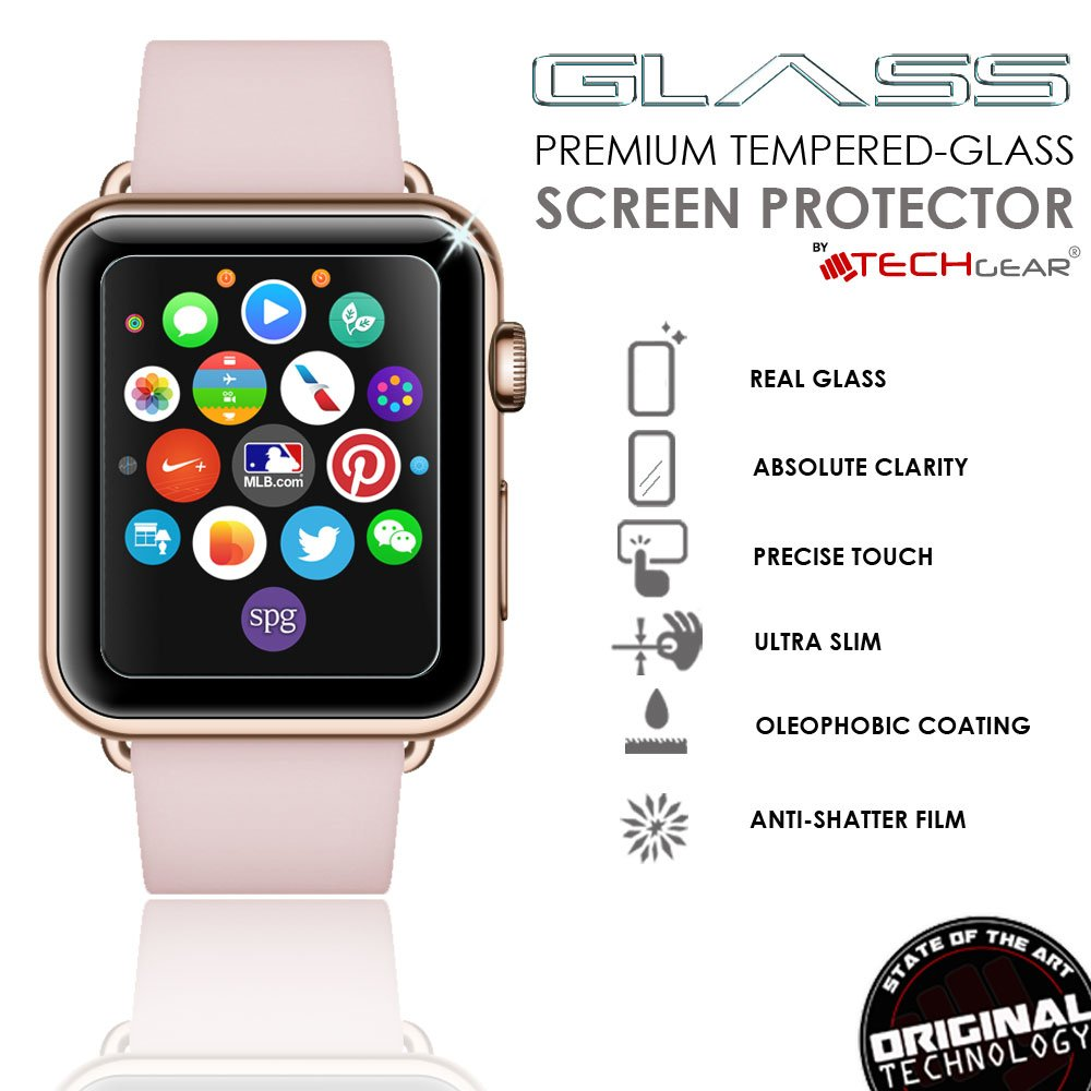 TECHGEAR Screen Protector fits Apple Watch Series 3 42mm 3D GLASS Edition Full Coverage Tempered Glass Screen Protector Guard Cover Compatible with
