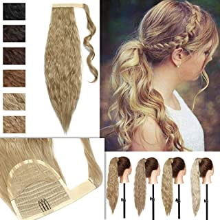 Wavy Magic Paste Wrap Around Ponytail Extensions Evenly Corn Wave Heat Resistant Synthetic Hair Binding Ponytail with Little Pocket for Women 20 Inch Natural Blonde