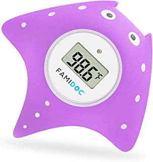 Famidoc Baby Bath Thermometer with Room Thermometer NEW Upgraded Sensor Technology for Baby Bath Tub Floating Toy Thermometer (Purple)