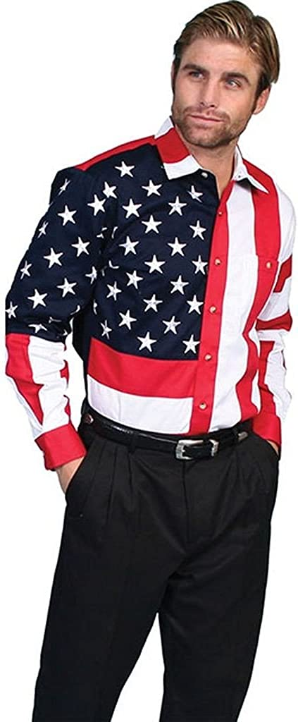 Scully Rangewear Men's Patriotic American Flag Western Shirt Big and Tall - Rw029 Red_X