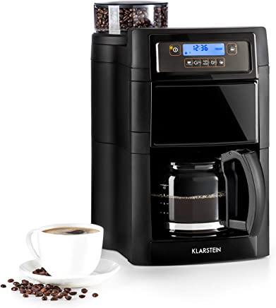 Klarstein Aromatica II máquina de café con molino • Máquina de café con filtro • 1000 W • Jarra de vidrio de 1,25 litros • Programable 24 horas • Filtro de carbón activo permanente • Negro