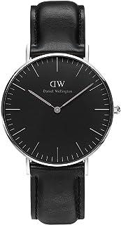 Daniel Wellington Classic Sheffield, orologio da polso nero/argento, 36 mm, in pelle, per uomo e donna