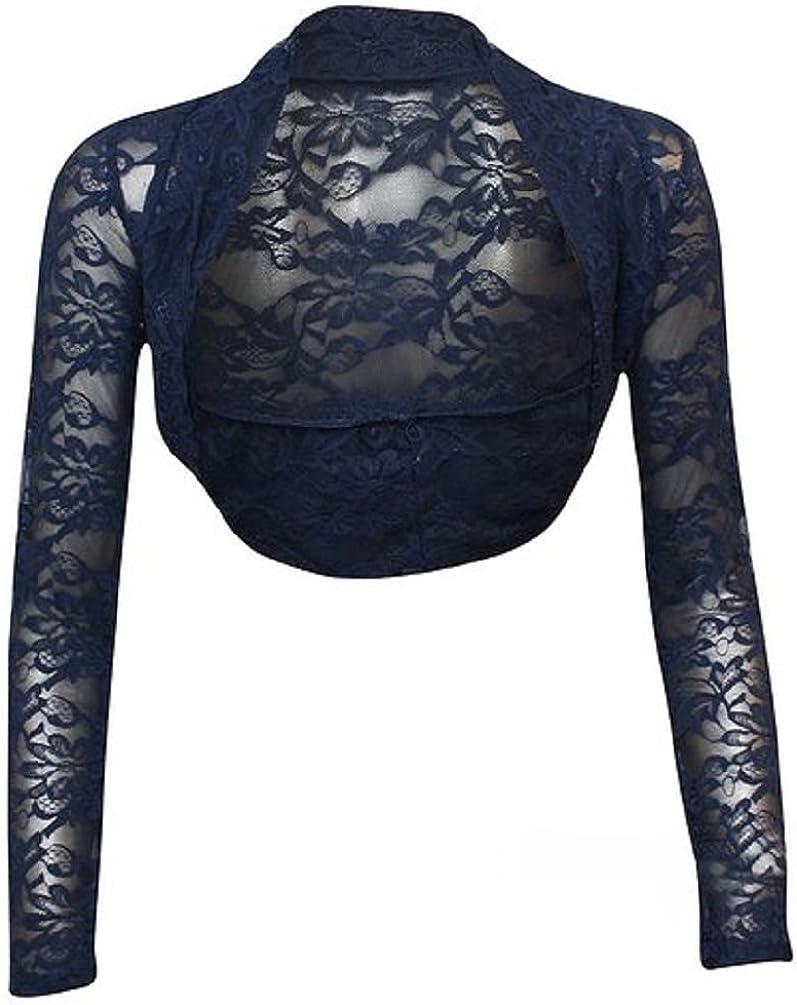 SugerDiva Women Ladies Long Sleeve Lace Shrug Bolero
