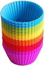 Bullidea 24 Pack Environment-Friendly Reusable Cupcake Cases Silicone Bakeware Baking Muffin Cups Molds