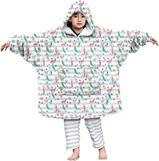 Koc z kapturem dla dzieci nadruk 3D oversize bluza z kapturem koce ultramiękki polar do noszenia ciepły sweter bluza bluza...
