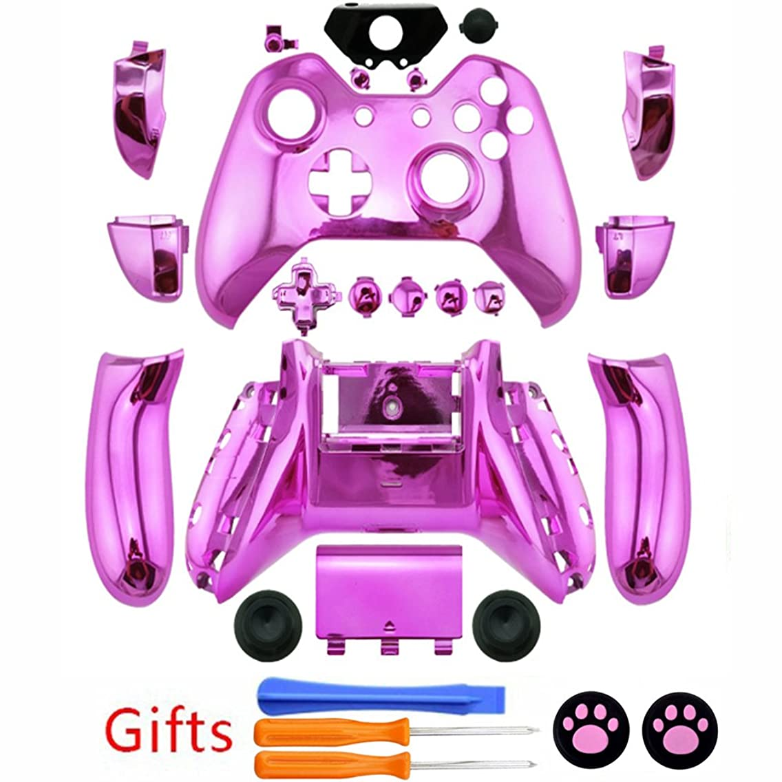 New Custom Full Housing Shell Case Cover with Buttons for Xbox One Wireless Controller - Chrome Pink