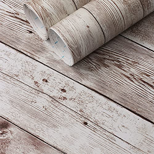 Heroad Brand Contact Paper for Cabinets Walls Countertops Realistic Wood Contact Paper Decorative Wood Wallpaper Shiplap Boards Self Adhesive Removable Wallpaper Peel and Stick Wallpaper 17.7'x78.7'