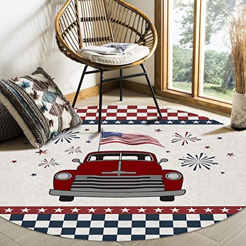Hommou, tappeto moderno rotondo con bandiera americana, antiscivolo, morbido, per interni, soggiorno, camera da letto, sala da pranzo, 15 cm di diametro