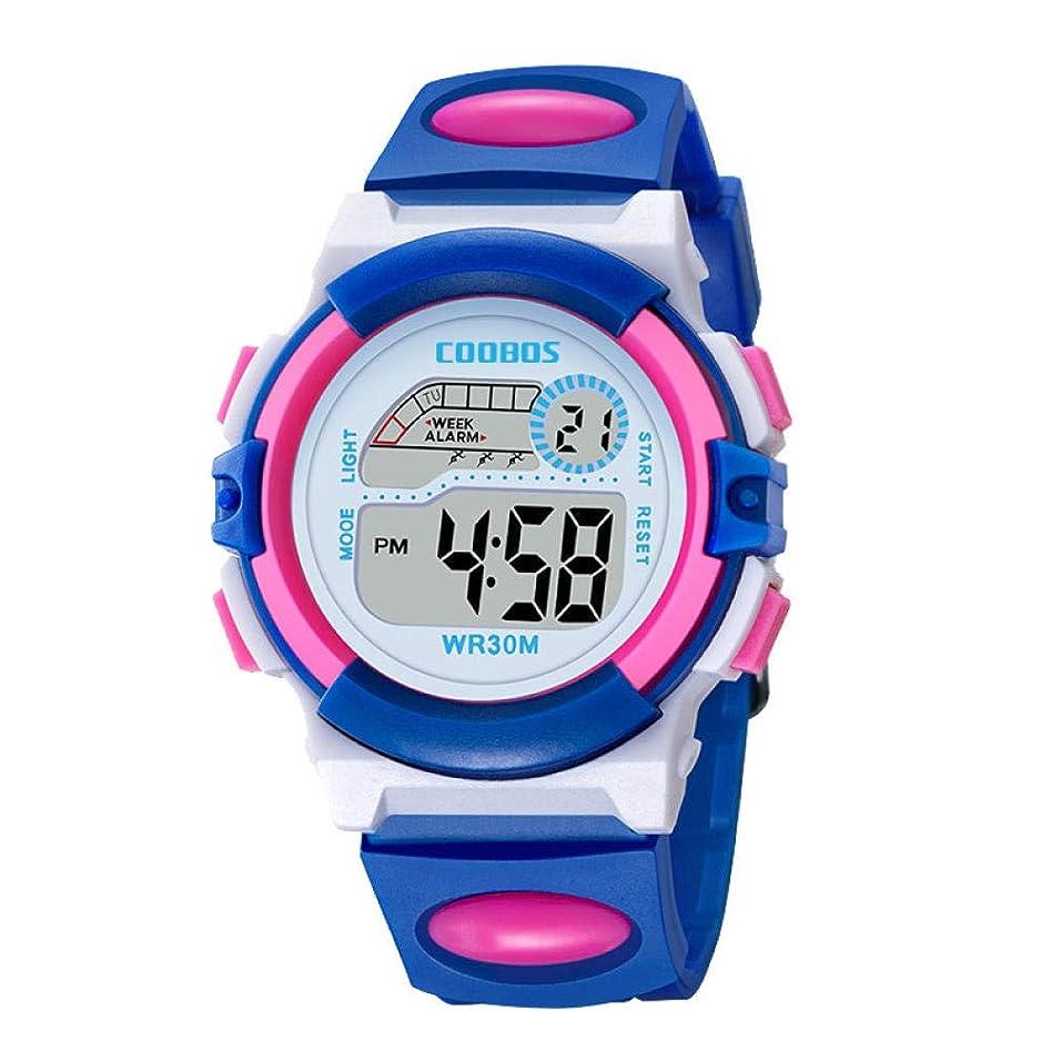 採用しなやかなアンタゴニストボーイズ腕時計カラフルなスポーツ時計子供のカラフルな明るい防水時計思春期の学生屋外多機能電子時計-青い