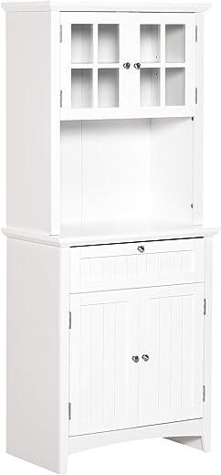 HOMCOM Hochschrank Küchenschrank Sideboard Vitrinenschrank Kommode mit Schublade Glastüren vielem Stauraum für Küche Wohnzimmer MDF Weiß 68,6 x 40…