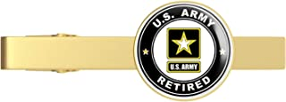Gold US Army Retired Gold Tie Clip Tie Bar Veteran Gift