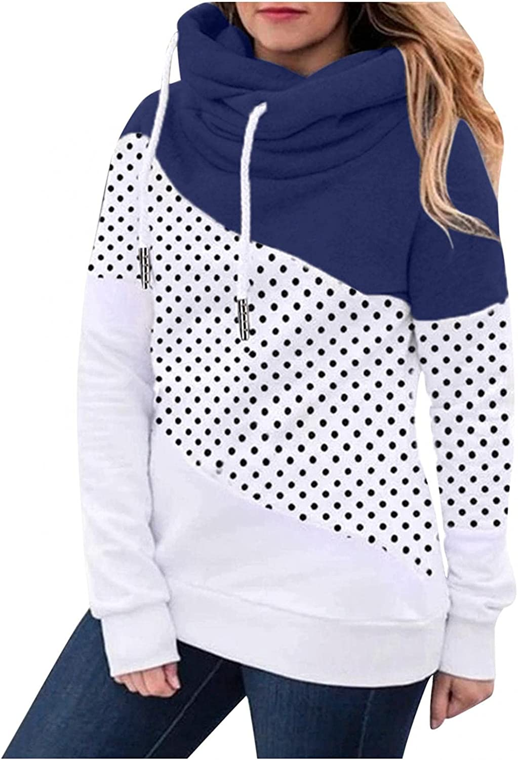 felwors Hoodies for Women, Womens Loose Pullover Long Sleeve Fall Hoodies Color Block Tunics Casual Comfy Sweatshirts