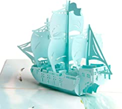 GUAngqi Wish 3D Card Pop Up Greeting Card Sailboat Handmade Card Craft Gift for Business Friends