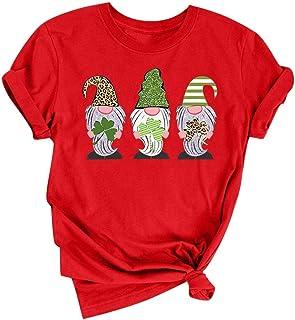 "Doublehero Damen Kleeblatt Druck Tshirt Lässige St. Patrick""s Day Kostüm Kurzarm-Shirt Leprechaun Rundhals Top Bluse Träger Sweatshirt Frau Irland Shirt Patrick T Shirt S, Rot"