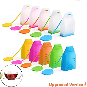 10 Pcs Reusable Silicone Tea Bags with Long Rope, Creatiee Premium Loose Leaf Tea Infuser Strainer for Tea Cups, Mugs and Teapots - Assorted Colors, Upgraded Holes & Better Filter(Transparent+ Pure)