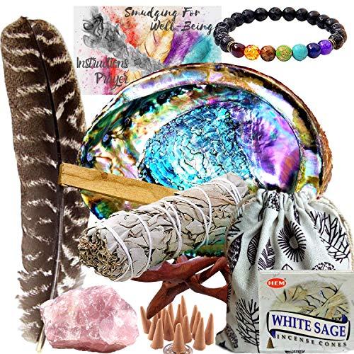 Smudge Kit Spiritual Set, Large Abalone Shell, Complete Sage Smudge Stick Kit,...