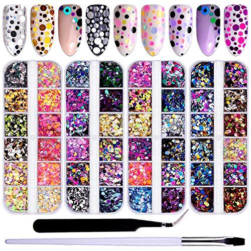 Duufin 48 Farben Nagel Glitzer Pailletten Rund Bunt Nagel Glitzer mit Nail Art Pinsel und Pinzette für DIY Nägel Kunst Dekoration