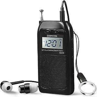 ZHIWHIS ポータブルラジオ 充電式 デジタル ポケットラジオ 高感度 大容量バッテリー 首掛け AM FM SWラジオ 小型 バックライト TFカード対応 MP3プレーヤー 高音質 多機能ストラップ 収納袋 日本語説明書付き (黒)