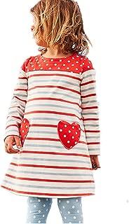 HILEELANG Girl Winter Casual Dress Christmas Long Sleeve Cotton Cartoon Applique Strip Shirt Party Outfit Dresses