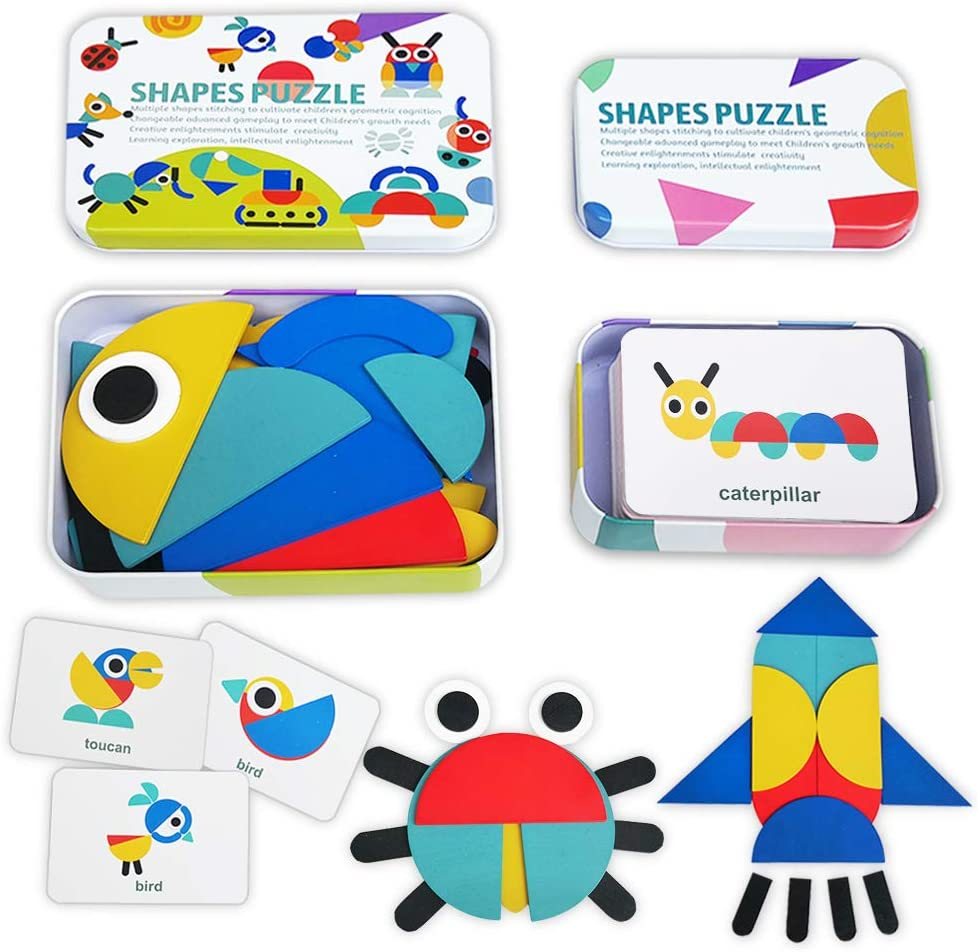 Wooden Pattern Blocks Tangram Shape Animals Co Cheap sale Be super welcome Puzzle Jigsaw Set