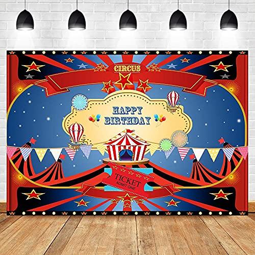 Telón de Fondo con Tema de Fiesta de Circo, Carpa, pancartas Coloridas, Fondo de Globo aerostático, Fondos de fotografía de Feliz cumpleaños, A1 7x5ft / 2,1x1,5 m