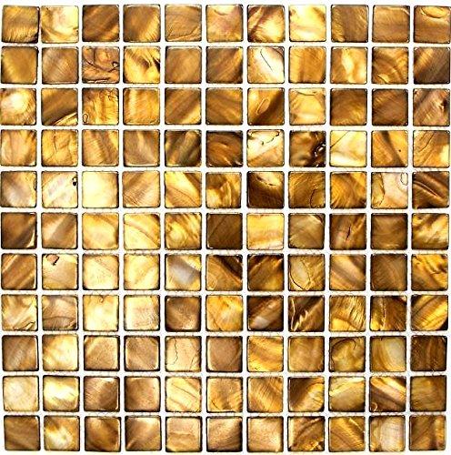 Mosaik Fliese Muschel beigebraun für WAND BAD WC DUSCHE KÜCHE FLIESENSPIEGEL THEKENVERKLEIDUNG BADEWANNENVERKLEIDUNG Mosaikmatte Mosaikplatte