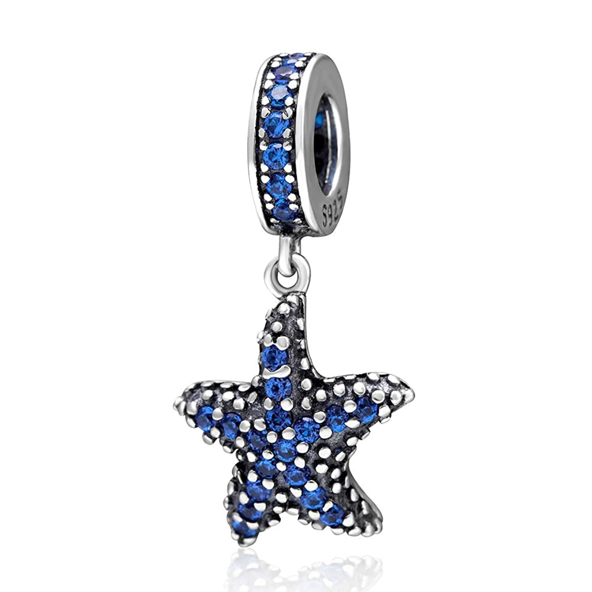 Blue Starfish Dangle Charm 925 Sterling Silver Sea Star Beads fit for DIY Charms Bracelets
