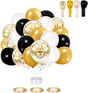 Globos de Fiesta,Globos de Cumpleaños 60 Piezas Globos de Oro Negro Globos Helio de Confeti para Decoraciones de Navidad, Aniversario, Boda Graduación Halloween Decoraciones