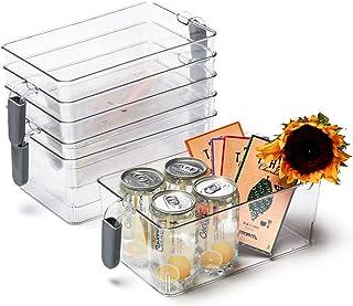EZOWare Bac de Rangement en Plastique Pet Transparent avec Poignée, Panier et Boîte de Rangement, pour Cuisine, Frigo, Con...