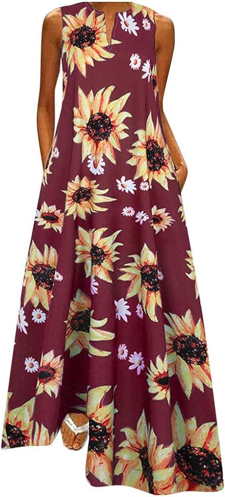 Kanzd Women Summer Dresses Plus Size Maxi Dresses Fashion Boho V-Neck Long Spaghetti Strap Beach Magic Flame Sundress