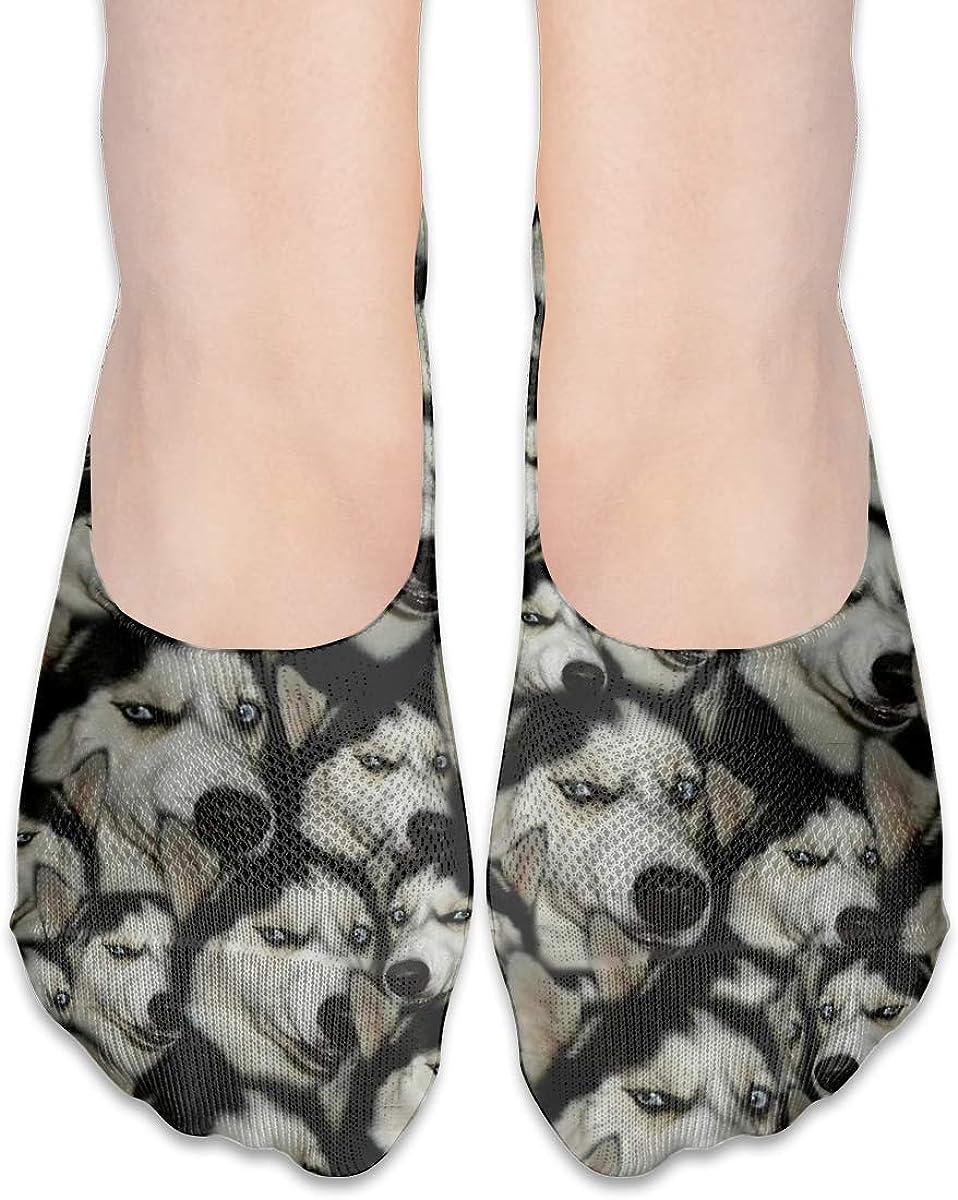 No Show Socks Women Men For Funny Husky Doge Faces Flats Cotton Ultra Low Cut Liner Socks Non Slip