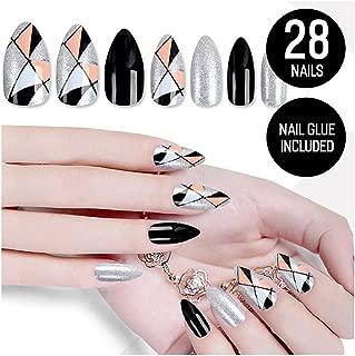 Tip Beauty Silver Black Fake Nail Kit, Happy Harlequin, Faux Nails, Fake Nails, Glue on Nails, Instant Nail, Professional Nail Tips, False Nails with Glue - MSRP $18