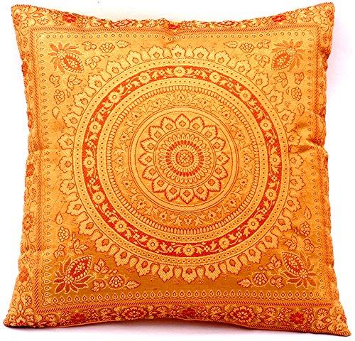 Gouden & camel kleur Indiase zijde deco kussenslopen 40 cm x 40 cm, extravagant design voor bank & bed decoratieve kussenslopen uit India. Aanbieding geldig tot het einde van de maand
