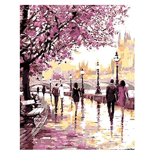 BeesClover - Kit de Pintura Digital al óleo por número, diseño de Flores de DIY pintura de Home Wall Art en lienzo Cherry Blossoms