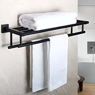 Alise GZ8000-B Bathroom Lavatory Towel Rack Towel Shelf with Two Towel Bars Wall Mount Holder,24-Inch SUS 304 Stainless St...