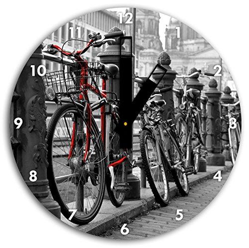 Vélos axe navigable noir blanc, diamètre 30cm / horloge murale avec du noir au carré les mains et le visage, objets décoratifs, Designuhr, aluminium composite très agréable pour salon, bureau