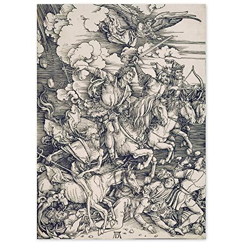 JUNIWORDS Poster, Albrecht Dürer, Die vier apokalyptischen Reiter, Apokalypse, 20 x 28 cm