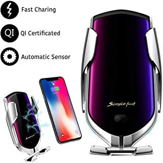 Automatic Clamping Wireless Car Charger Mount, lesgos Infrared Auto-Sens Fast Qi Wireless Car Charger Air Vent Mount for I...
