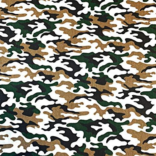 Pingianer 11,99€/m Camouflage Tarn 100% Baumwolle Baumwollstoff Kinder Meterware Handwerken Nähen Stoff (Camouflage Weiß Schwarz Braun Grün, 100x160cm (11,99€/m))