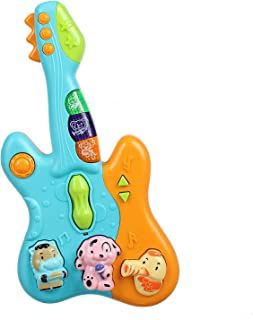 PLUSPOINT Baby and Toddler Musical Guitar Toy with Colorful Animal Keys,Sounds,Songs and Light : Educational Instrument Toy