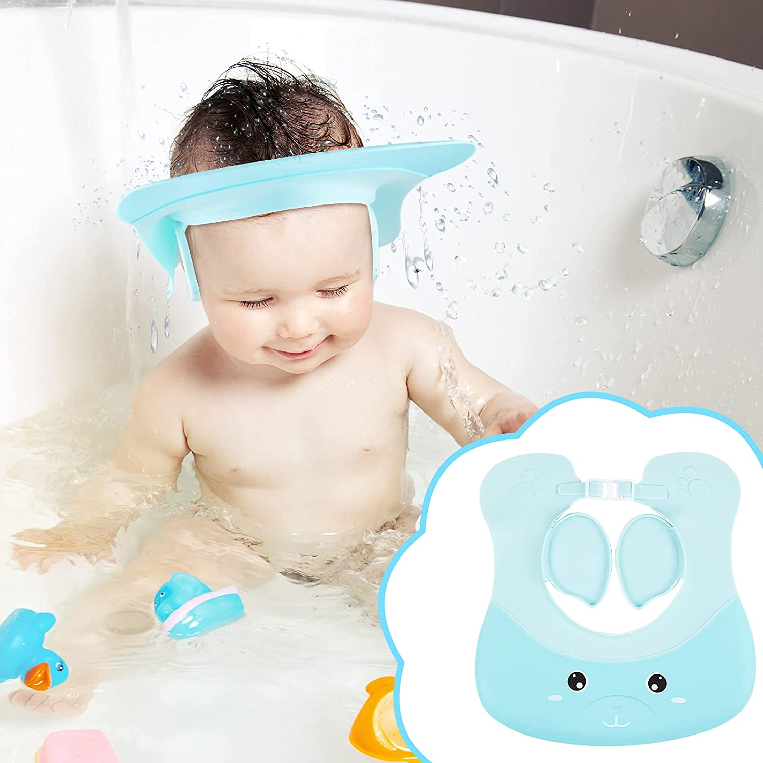 Baby Shower Cap Baby Bath Hat Children Shampoo Shower Cap Baby Bath Visor Adjustable Baby Shower Hat Blue Dolphin Shampoo Bathing Hat with Ear Protection for Prevent The Water Shampoo into Eyes Ears