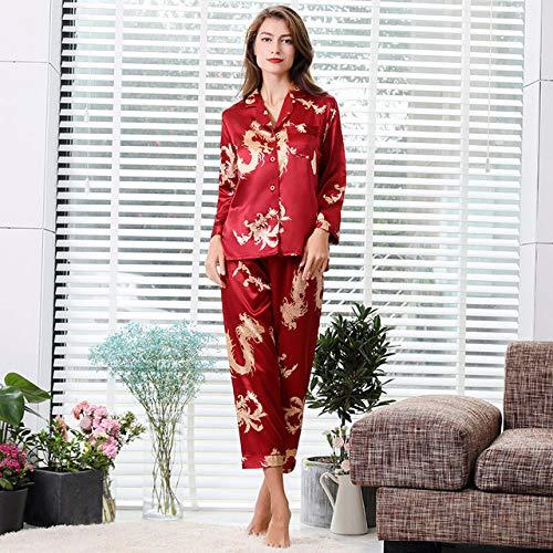 IHCIAIX Pijamas de Invierno,Verano Pareja Camisón Fino de Manga Larga Pijamas de Seda para Hombres Ropa de Dormir Conjunto de Pijamas para Hombres y Pijamas para Mujeres Ropa de Dormir para hombr