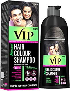 VIP Hair Color Shampoo for Men & Women - Easy application for Hair, Beard, Chest & Mustache without Glows & mixing (400 M...