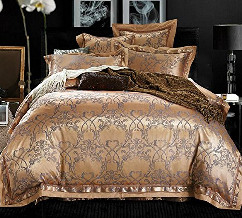 Lowest Price! HUROohj Satin Jacquard,The New Bedding Four Sets,European Style,Bedding Kits( 4 Pc...