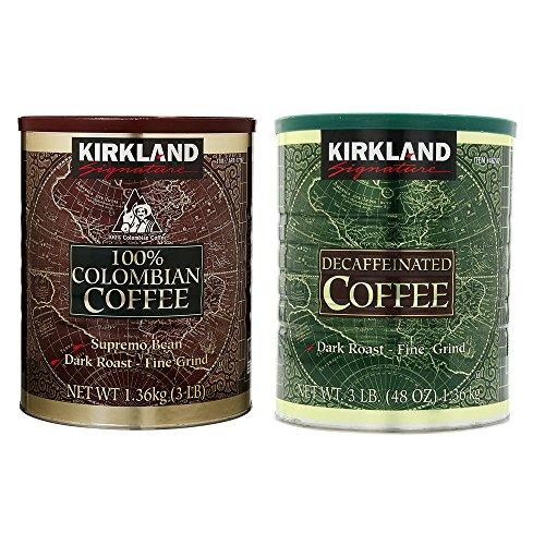 Kirkland Signature 100% Colombian Coffee and Dark Rost Fine Grind Decaf Arabica Coffee Bundle-Includes Kirkland Signature Colombian Coffee(3 LB) Kirkland Signature Decaf Arabica Coffee, 48 Ounce