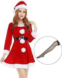 VeroMan レディース サンタ コスチューム ロング丈 クリスマス コスプレ 衣装 網タイツ付き 大きいサイズ